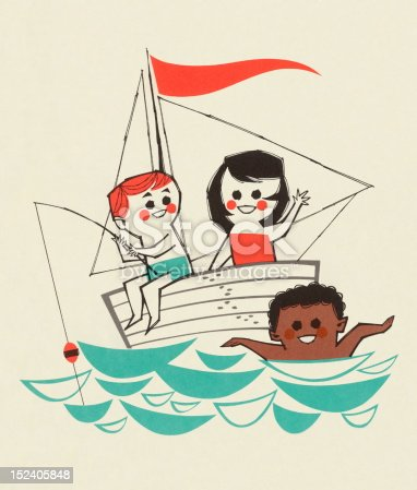 Kids Fishing and Swimming
