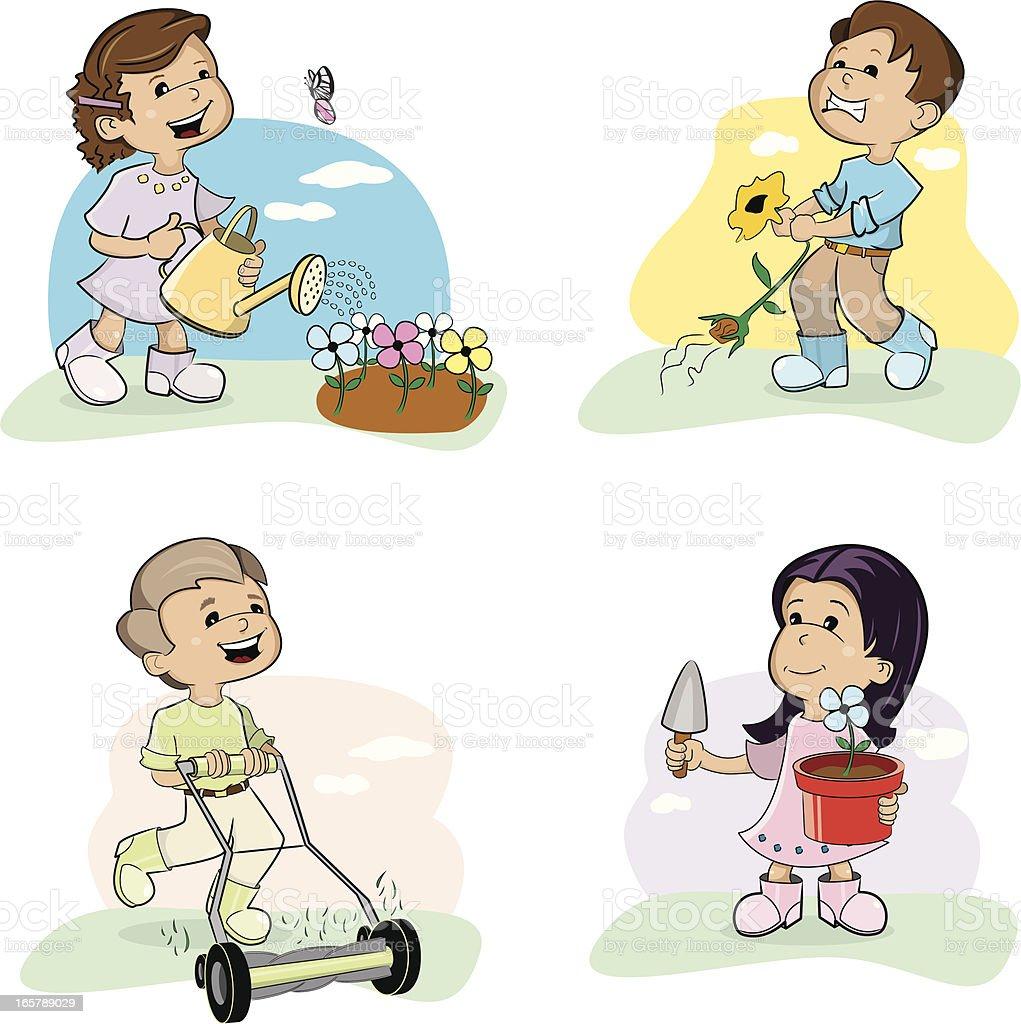 Kids Gardening Stock Vector Art & More Images of Adult ...