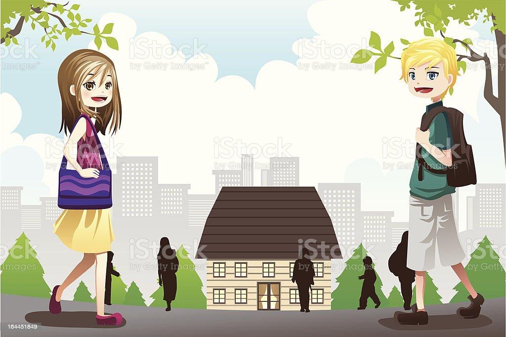 Kids going to school vector art illustration