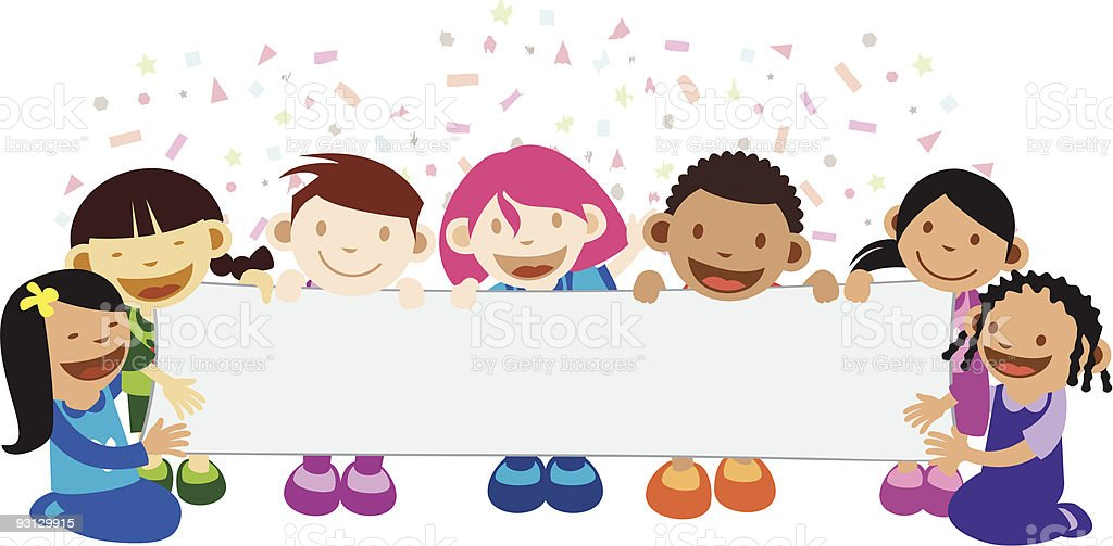 Kids Holding A Banner royalty-free kids holding a banner stock vector art & more images of banner - sign