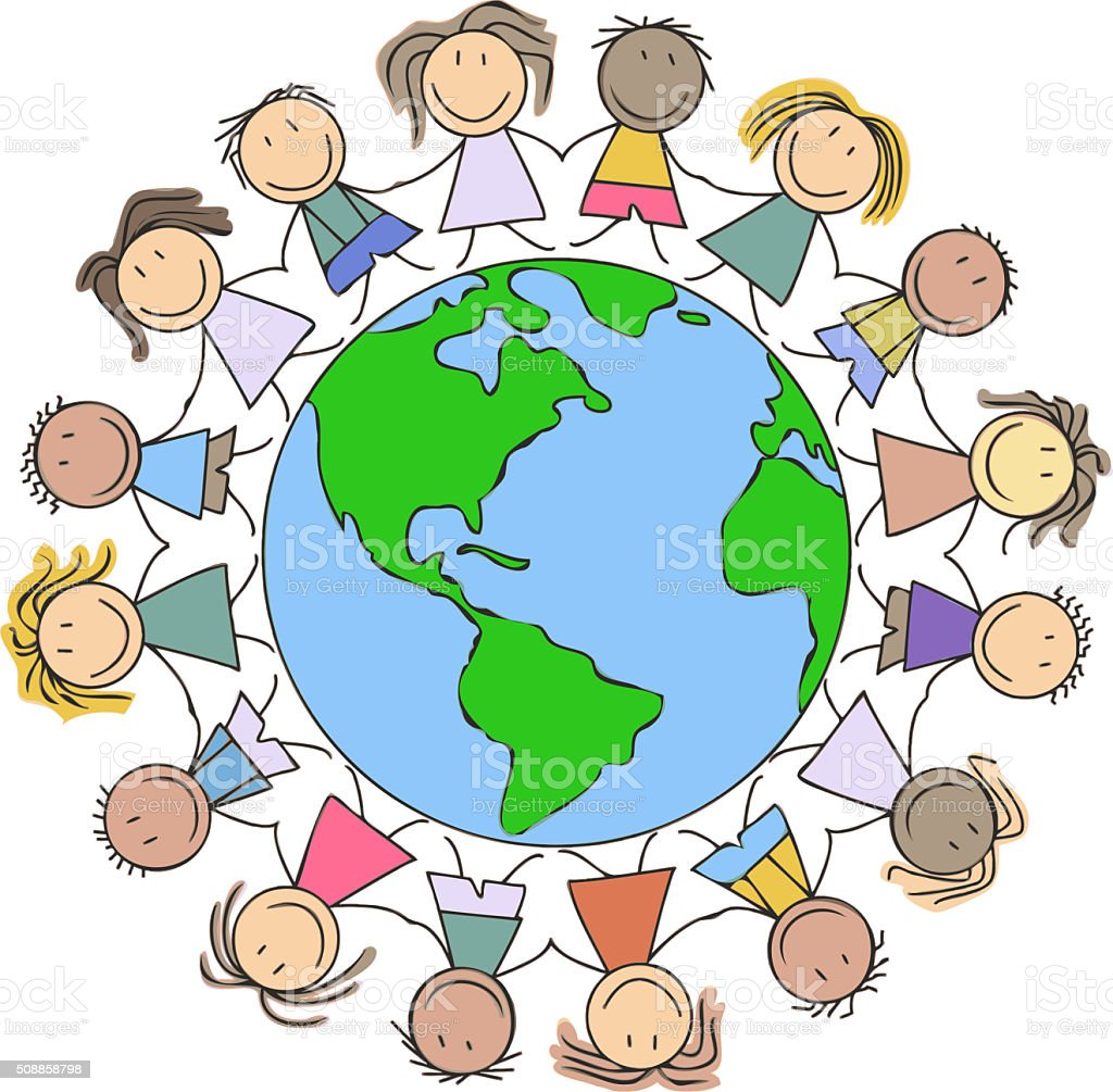 Kids Illustration Children Drawing Kids Holding Hands On World Stock ...