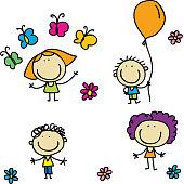 Happy kids set