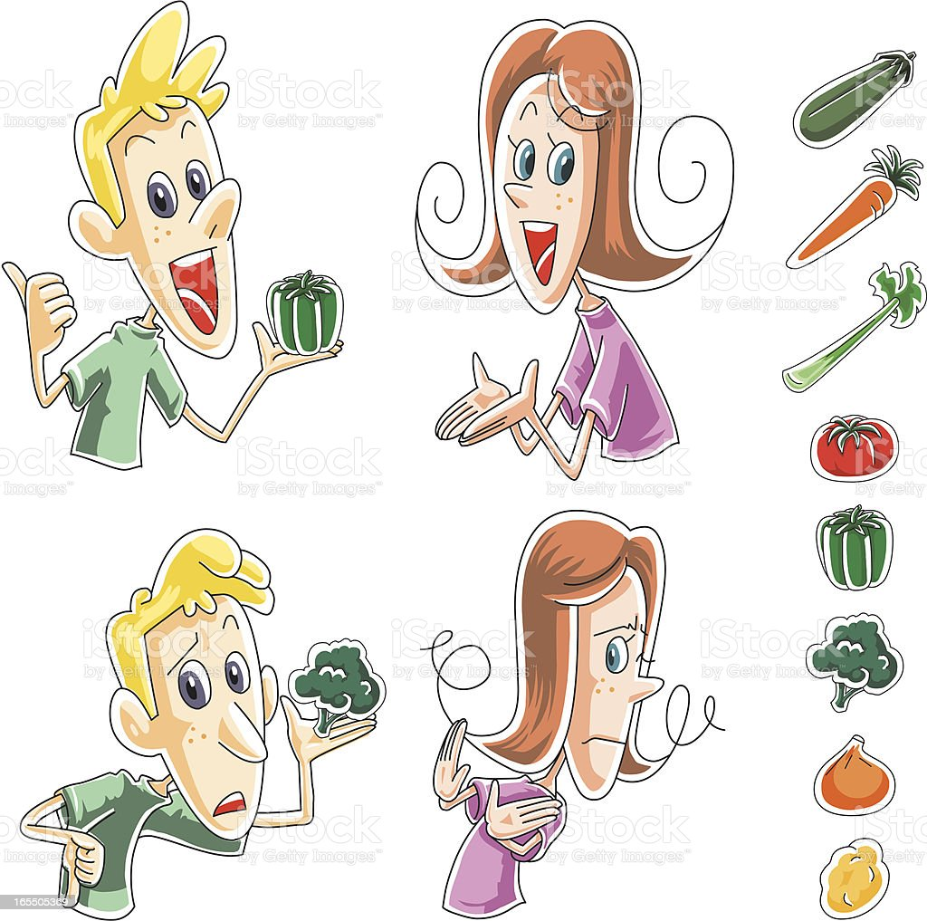 Kids like and disgust vegetables royalty-free kids like and disgust vegetables stock vector art & more images of adult