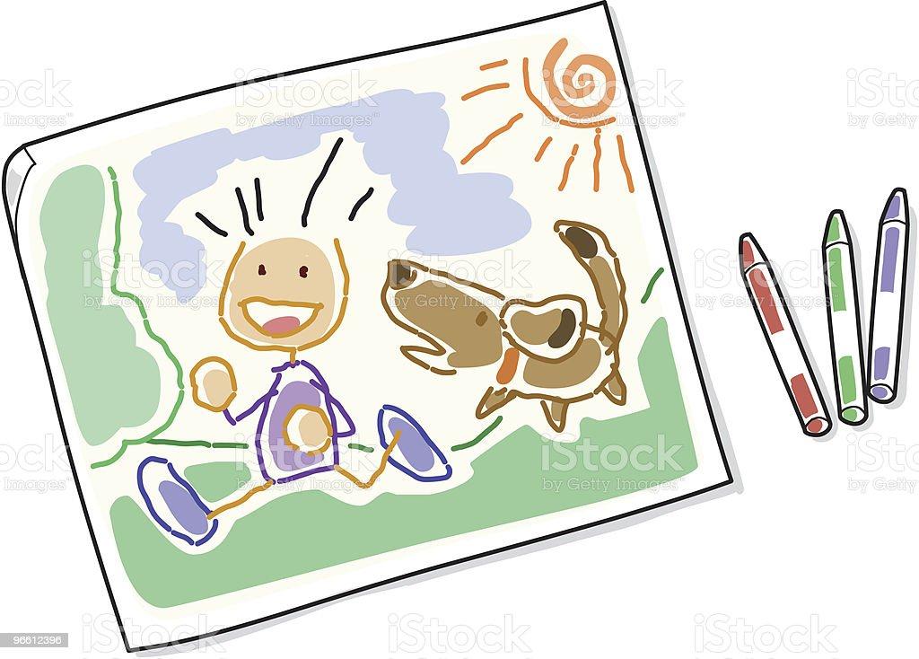 Kinder malen - Lizenzfrei Comic - Kunstwerk Vektorgrafik
