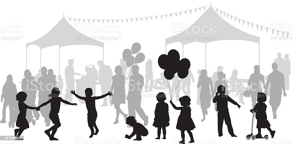 Kids Party Vector Silhouette royalty-free stock vector art