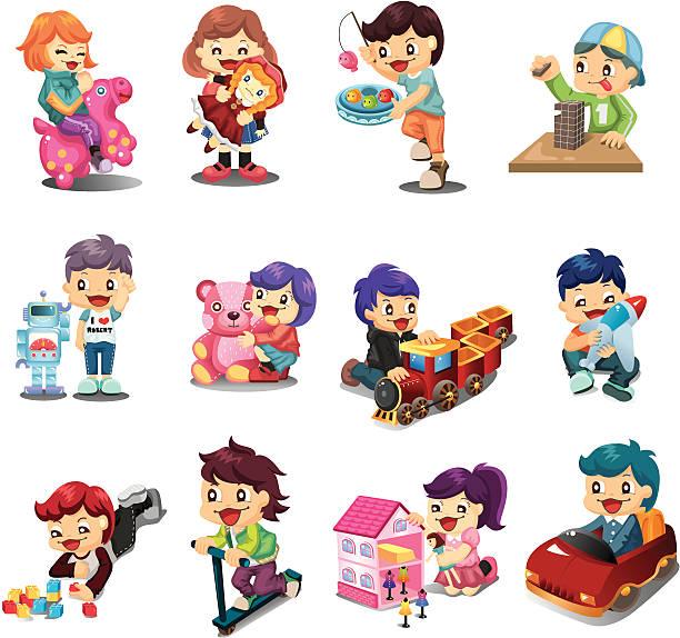kinder spielen spielzeug - puppenkurse stock-grafiken, -clipart, -cartoons und -symbole