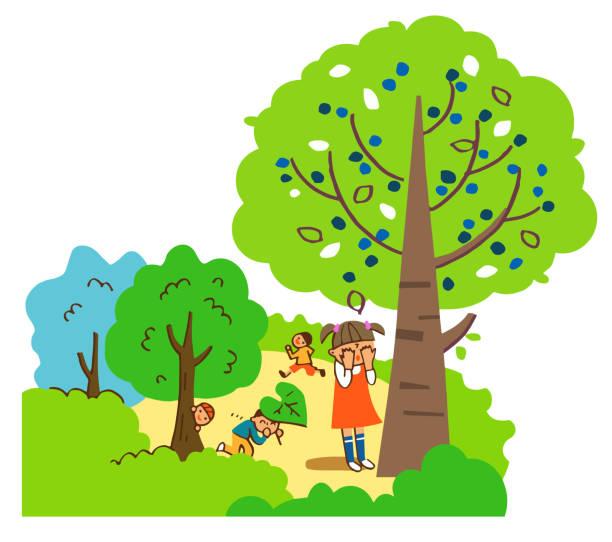 illustrazioni stock, clip art, cartoni animati e icone di tendenza di kids playing hide-and-seek in nature - forest bathing