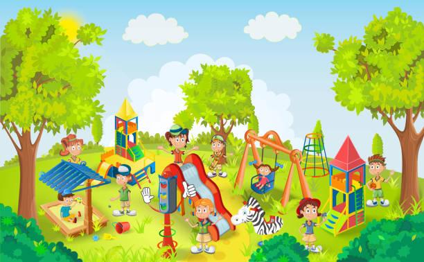 Kids playing in the park illustration vector art illustration