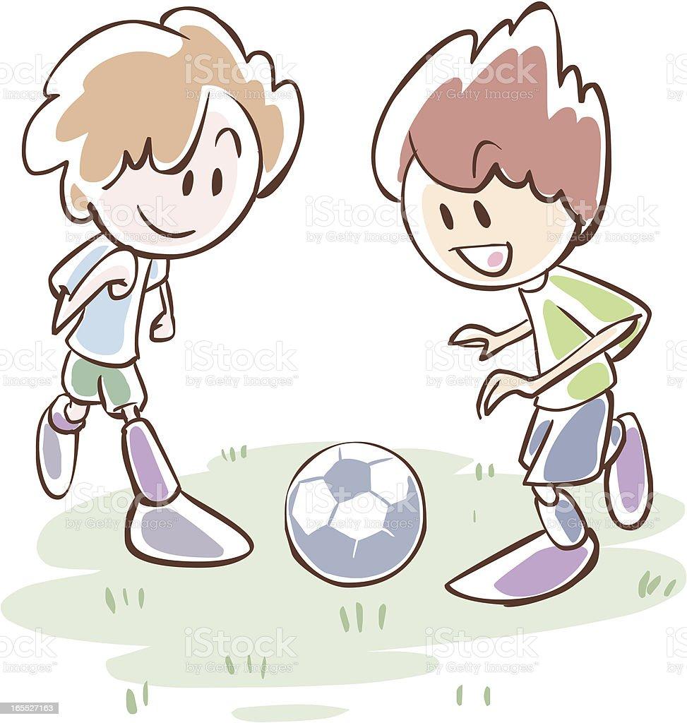 Kinder Spielen Fussball Stock Vektor Art Und Mehr Bilder Von