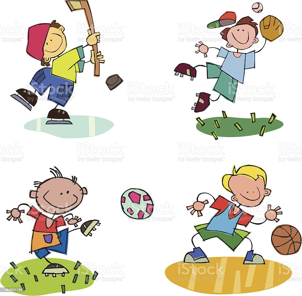 Kids Playing Sports royalty-free stock vector art
