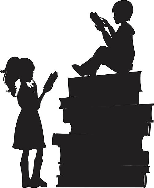 Kids Reading Two children reading on a stack of books. Click below for more kids stuff. book silhouettes stock illustrations