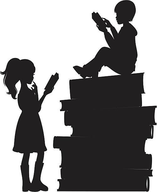 Kids Reading vector art illustration