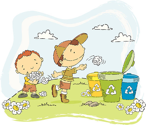 kids reclycling - child throwing garbage stock illustrations, clip art, cartoons, & icons