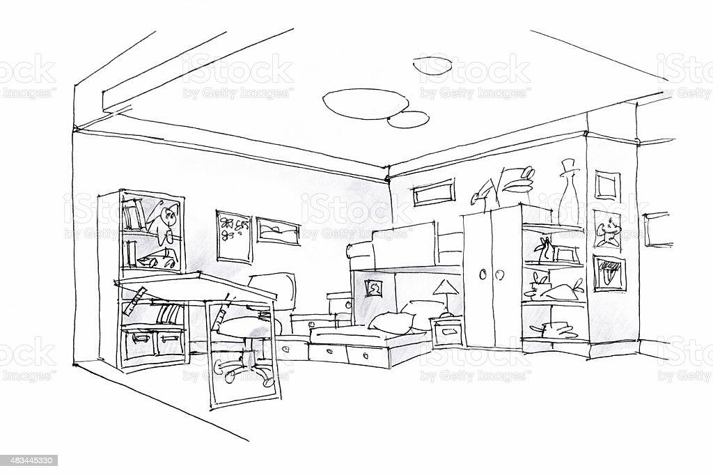 Ilustración de Los Niños De Dibujo En Blanco Y Negro y más banco de ...