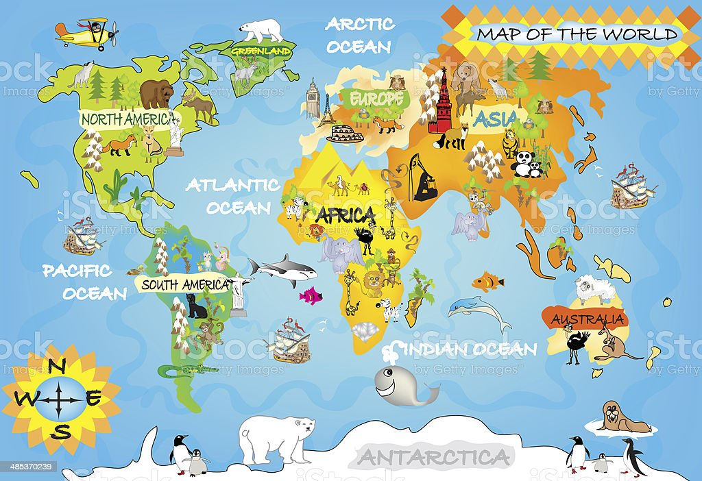 Kids World Map Stock Vector Art More Images Of Airplane 485370239