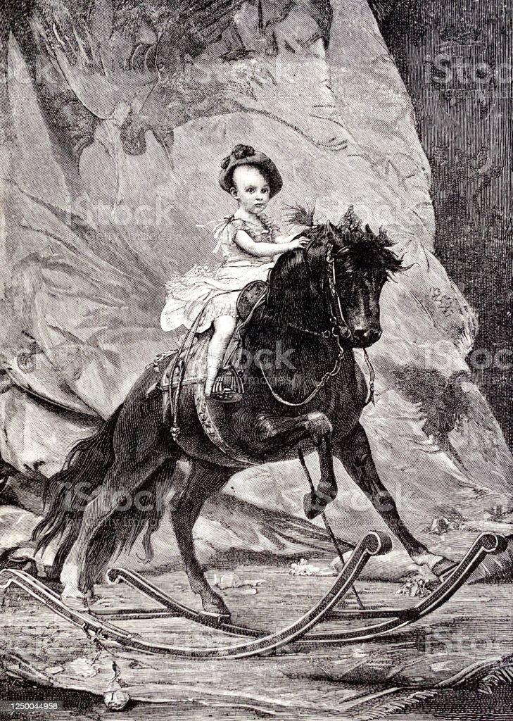 King Alfonso Xiii From Spain On A Huge Rocking Horse Stock Illustration Download Image Now Istock