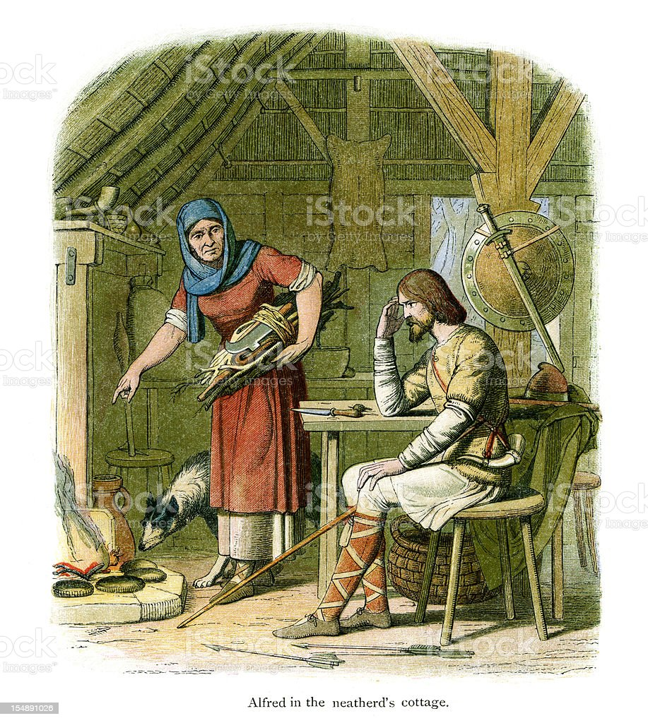 King Alfred in the neatherd's cottage vector art illustration