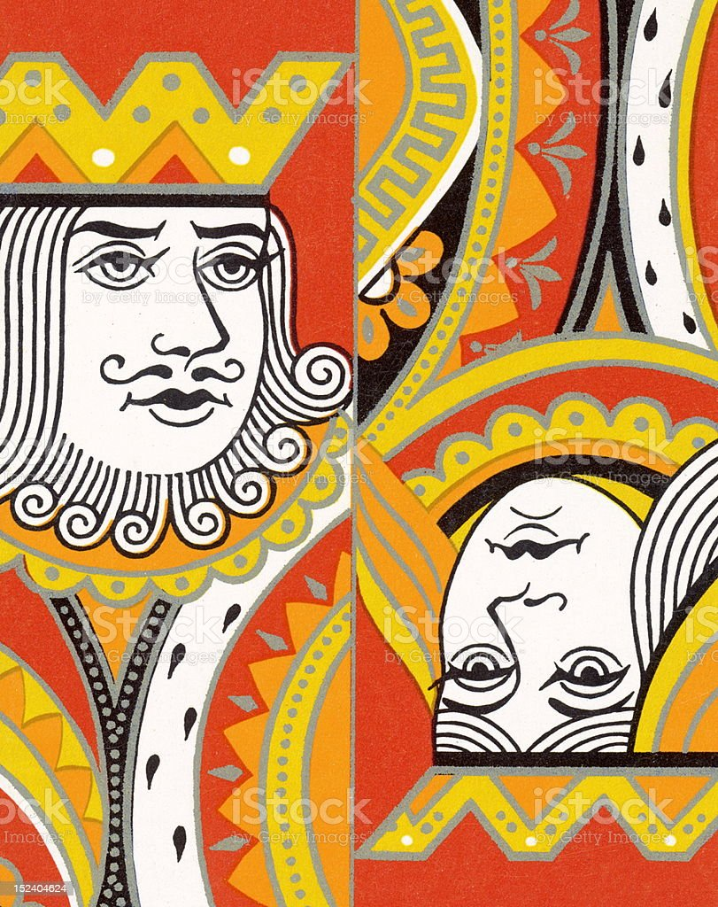 King and Queen vector art illustration
