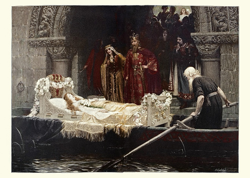 King Arthur and Guinevere before body of Elaine of Astolat,  Arthurian legend, The Lady of Shalott