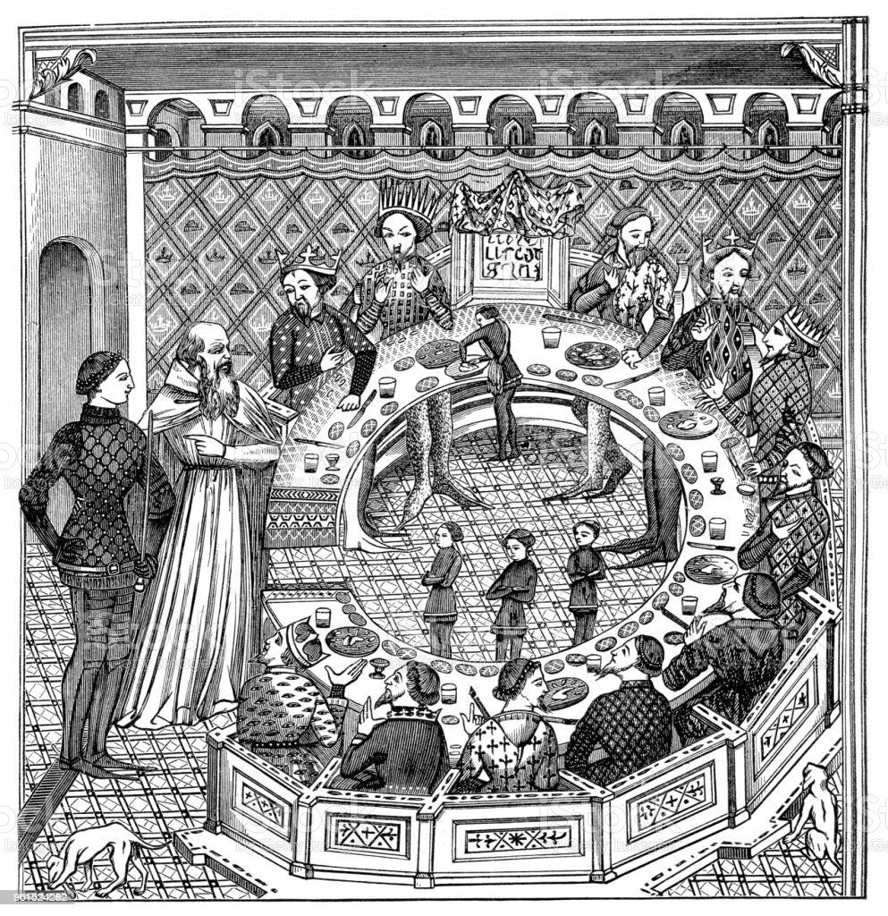 König Artus und die Tafelrunde – Vektorgrafik