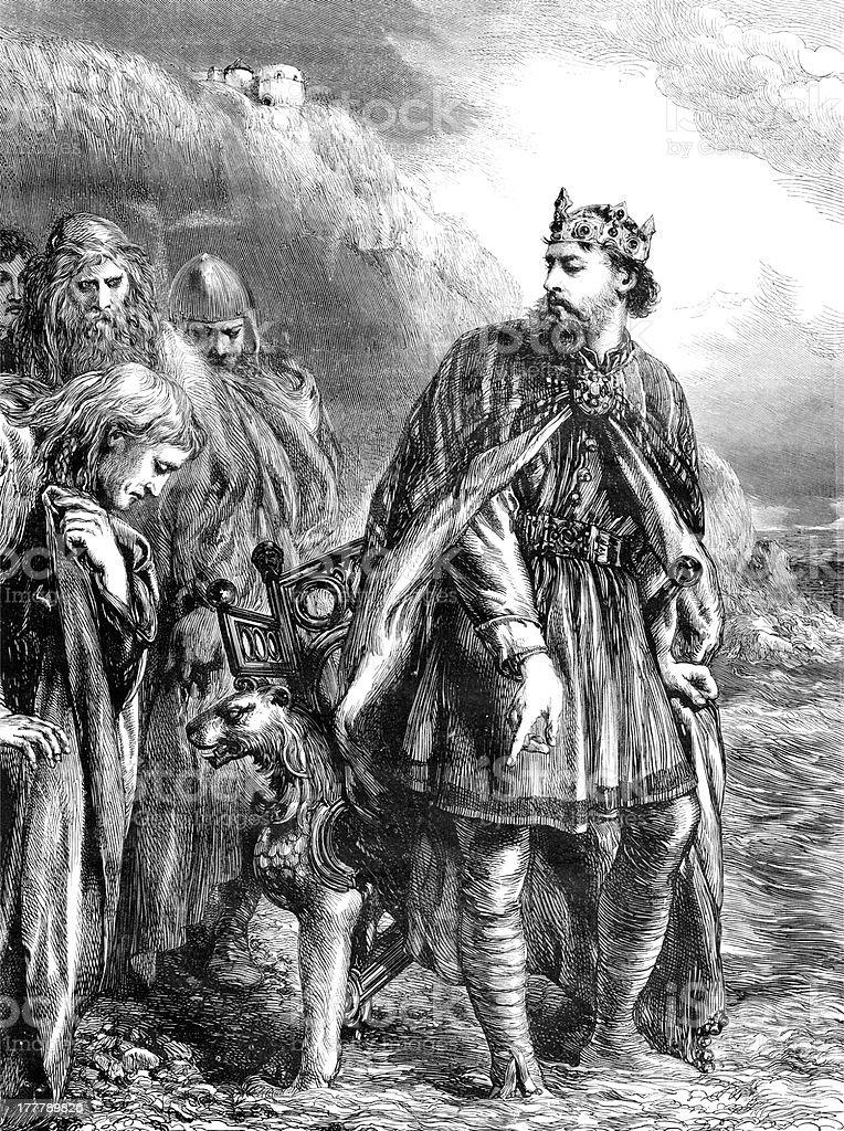 King Canute vector art illustration