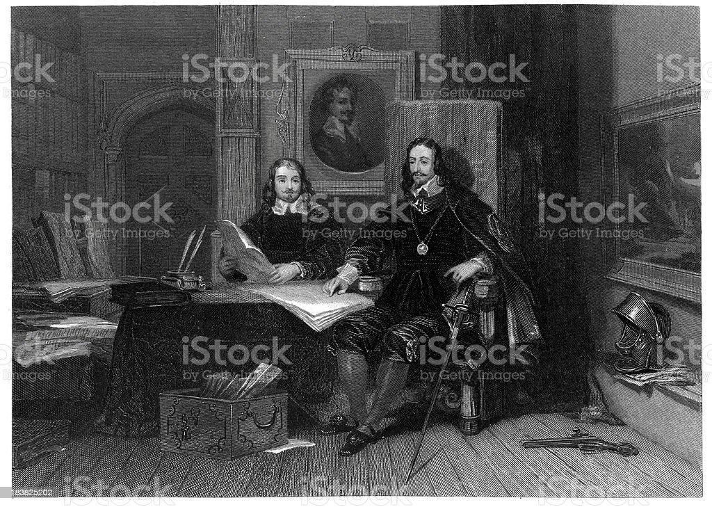 King Charles I and Hyde at Oxford royalty-free stock vector art