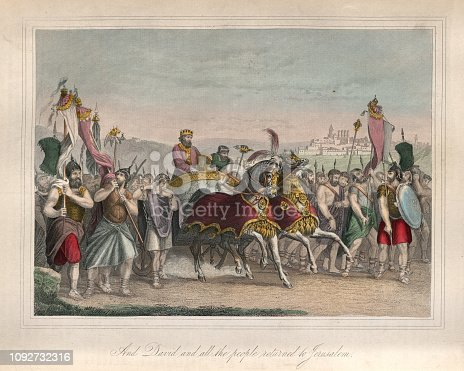 Vintage engraving of And David and all the people returned to Jerusalem