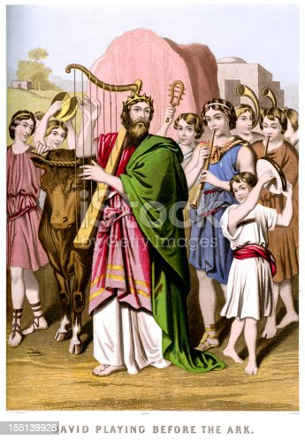 Vintage colour lithograph from 1880 showing King David playing the harp before the Ark