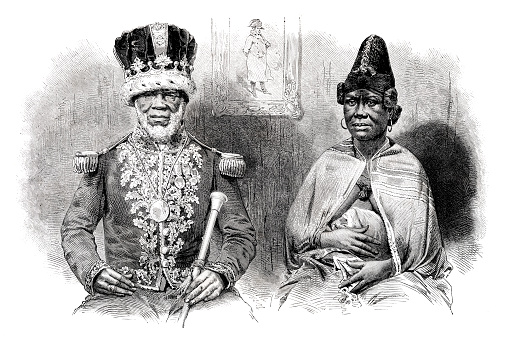 King Denis Rapontchombo of the Mpongwe in Gabon, known as King Denis, with his wife. In 1839 he signed a treaty making Gabon a protectorate of France. Original edition from my own archives Source : Tour du monde 1865 Drawing : Emile-Antoine Bayard (1837-1891) - Pannemaker after M. Houzé de l´Áulnoit