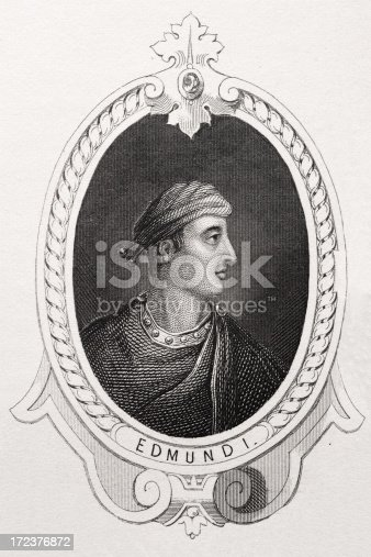 King Edmund the First king of the English reigned from 939 to 946.  He was a successful military leader who managed to re-conquer lands that had been lost to the Vikings. He was killed in a fight with an outlawed robber.  Note taken from A History of England published c1855 to 1860. Engraver Unkown.More King and Queens of England: