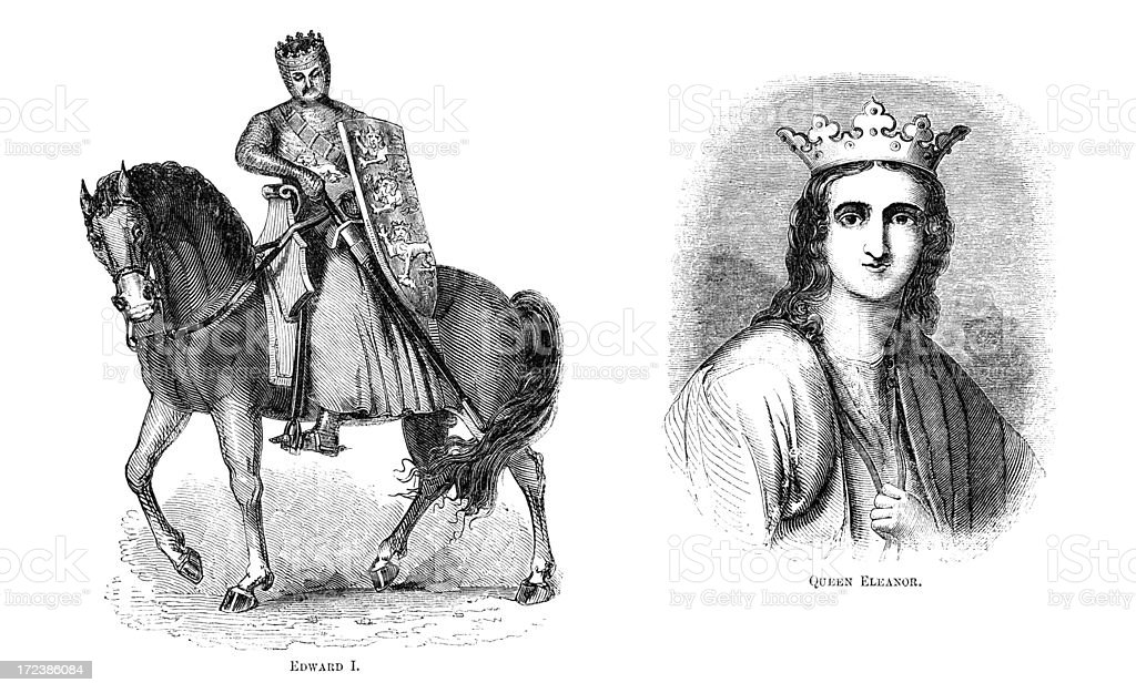 King Edward I and Queen Eleanor (Victorian woodcut) royalty-free stock vector art