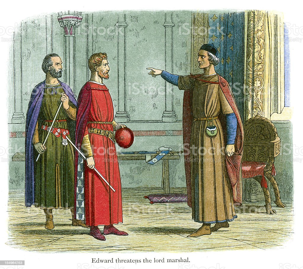 King Edward threatens the Lord Marshal royalty-free stock vector art