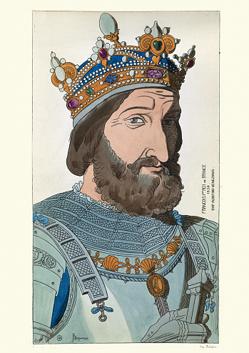 King Francis I of France, 16th Century, Wearing Crown and armour