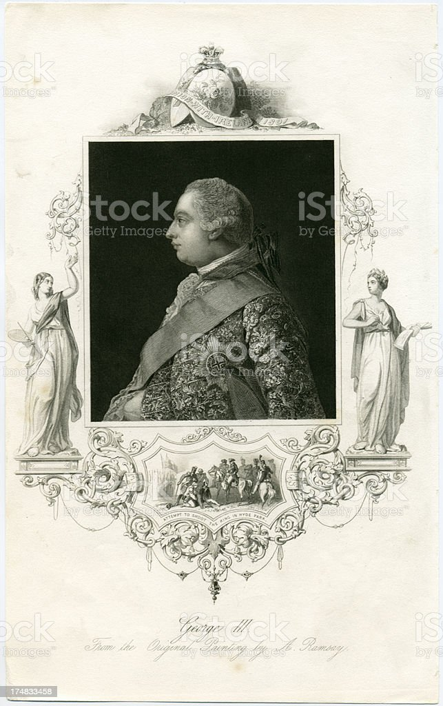 King George III of Great Britain and Ireland royalty-free stock vector art