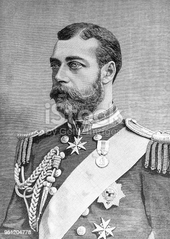 King George V (George Frederick Ernest Albert; 3 June 1865 – 20 January 1936) seen as a young prince of Wales here from the historic pre-1900 book