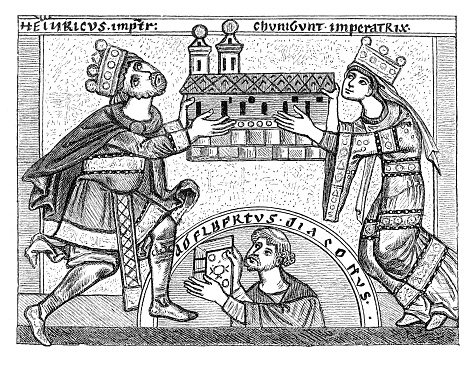 Henry II and Kunigunde building a church
