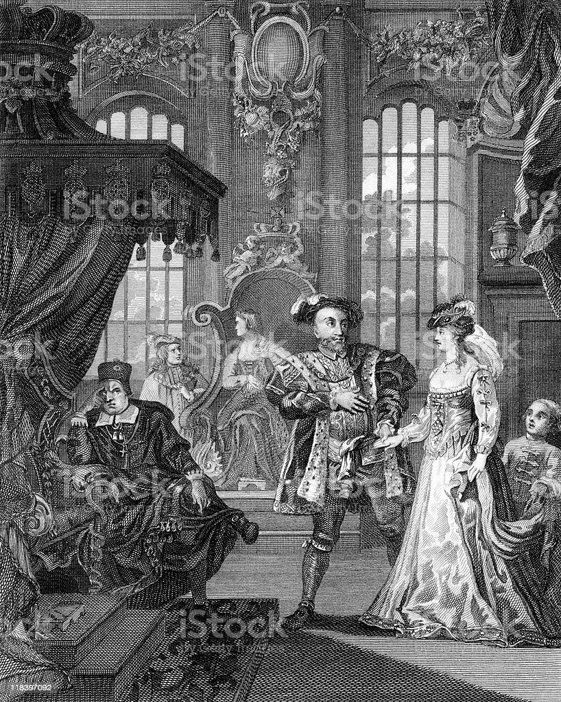 King Henry VIII Brings Anne Boleyn to Cardinal Wolsey royalty-free stock vector art