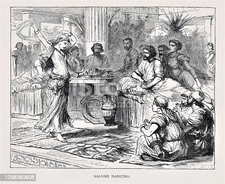 Salome dances for her step-father King Herod in historic Israel, Middle East. In return, she asks for the head of John the Baptist on a silver platter. Illustration published in The Life of Christ by Louise Seymour Houghton (American Tract Society: New York) in 1890. Copyright expired; artwork is in Public Domain. Digitally restored.