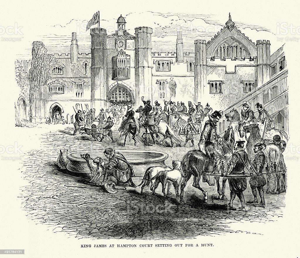 King James I at Hampton Court vector art illustration