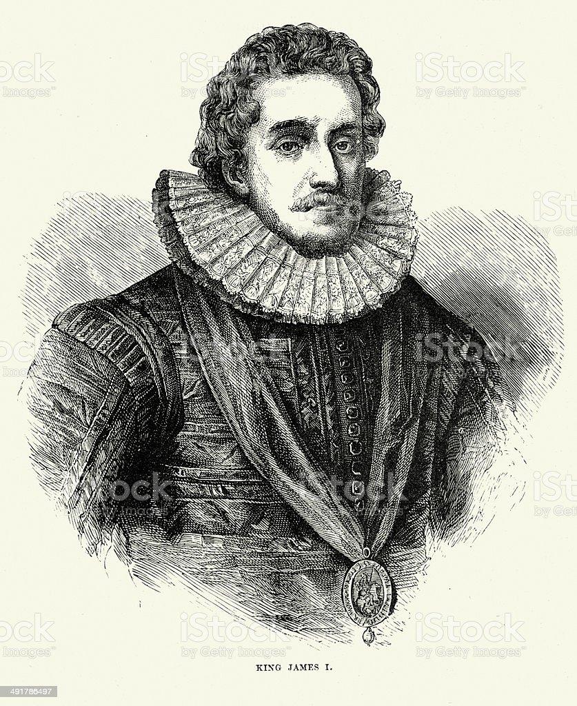 King James I vector art illustration