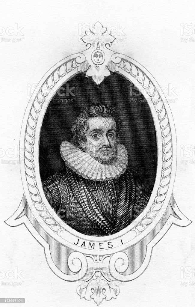 King James I of England vector art illustration