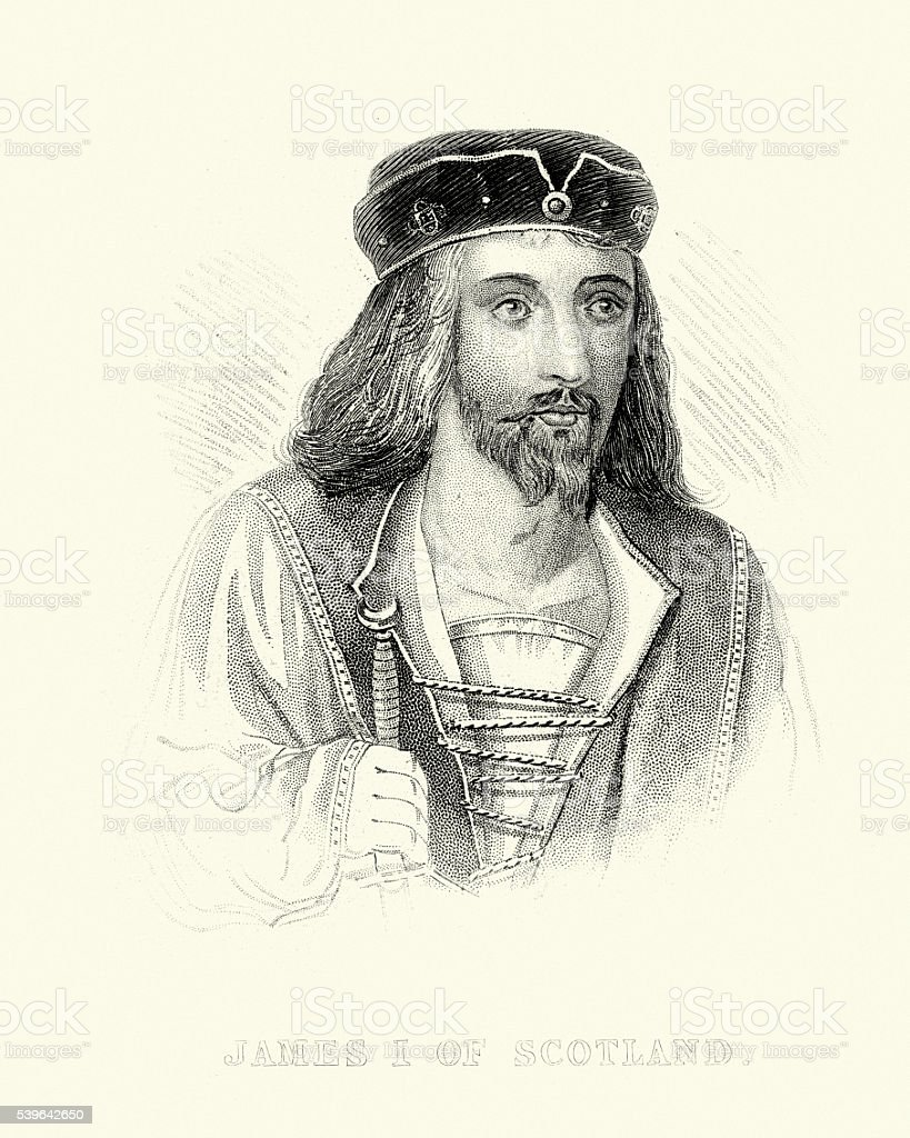 King James I of Scotland vector art illustration