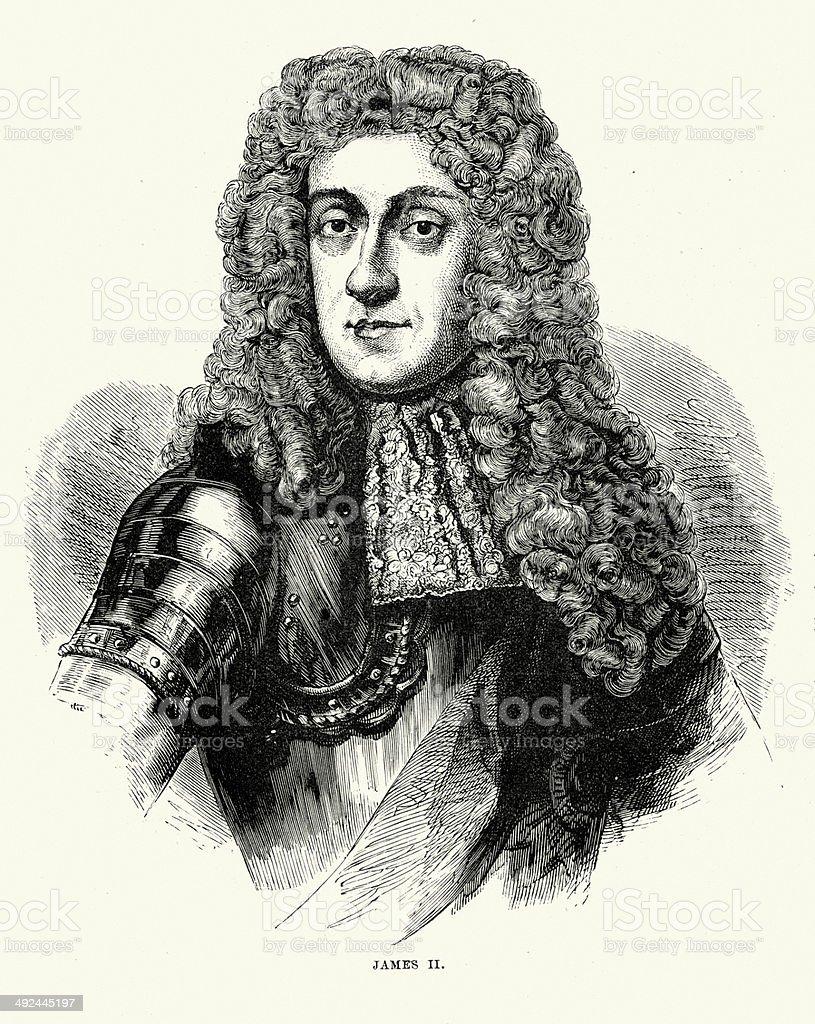 King James II vector art illustration