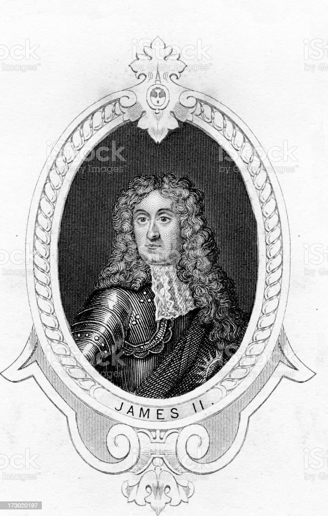 King James II of England vector art illustration