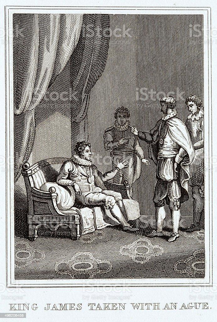 King James suffering malaria vector art illustration