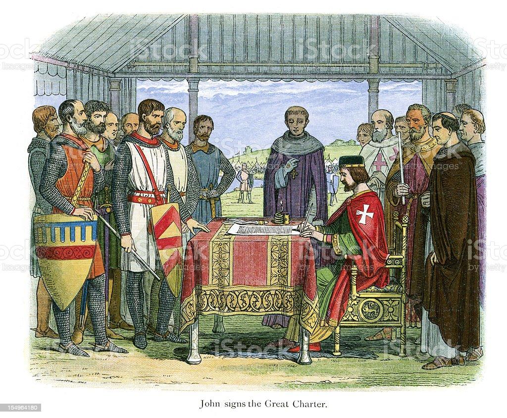 King John signing the Magna Carta vector art illustration