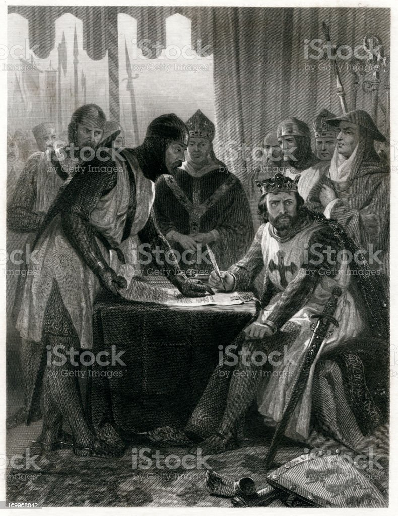 King John Signing The Magna Carta royalty-free king john signing the magna carta stock vector art & more images of 1873