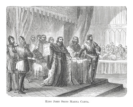 King John Signs Magna Carta (antique engraving)