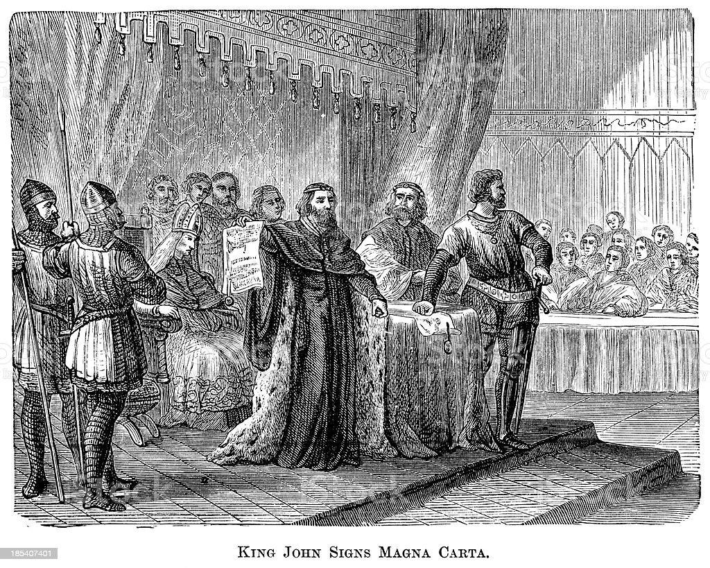 King John Signs The Magna Carta royalty-free stock vector art