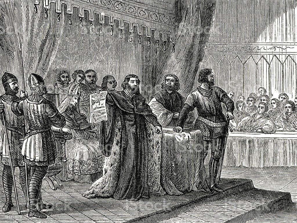 King John Signs The Magna Carta vector art illustration